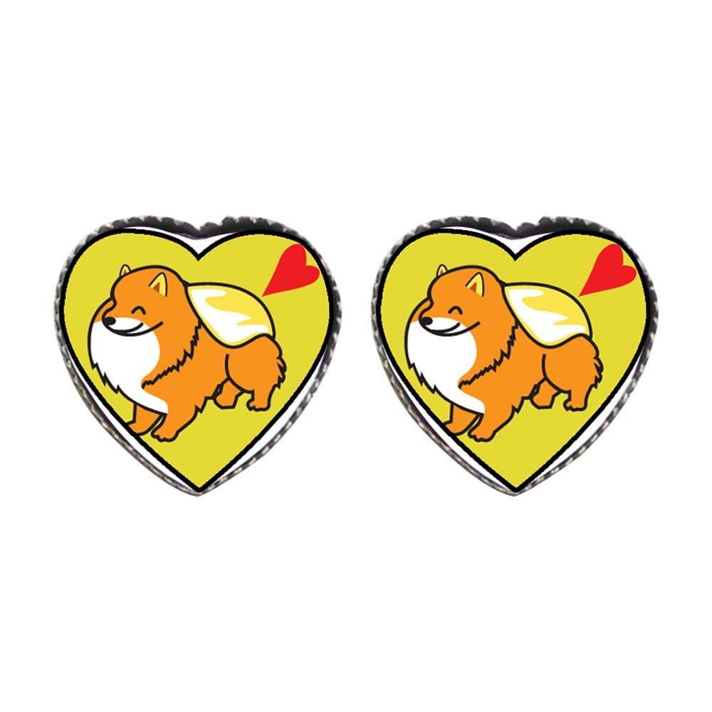 GiftJewelryShop Bronze Retro Style Pomeranian Dog cartoon Photo Stud Heart Earrings #12