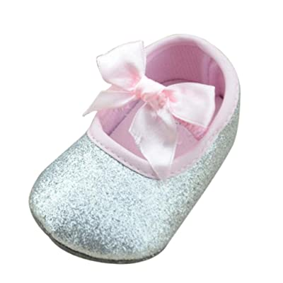 ????LuckyGirls Fille Princesse de Mode Chaussures Bowknot Danse Chaussures Glitter Baby Bow Bottom Doux Sneaker Anti-Dérapant Souple Sole Toddler-Tissu Coton- 0~18Mois
