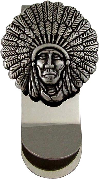 Treasure Gurus Indian Headdress 3D Silver Money Clip Mens Wallet Credit Card Holder