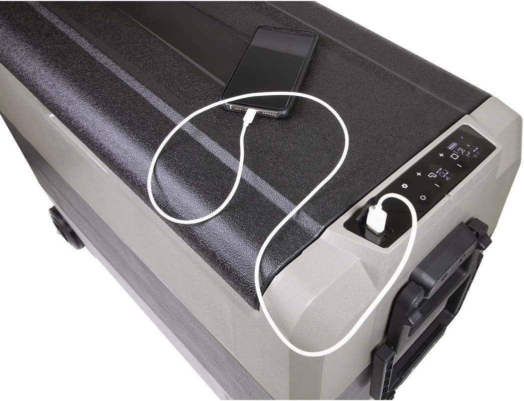 Dellonda 12//24//230V LED 60L Portable Dual Zone Compressor Fridge Freezer//Cool Box for Car//Camping