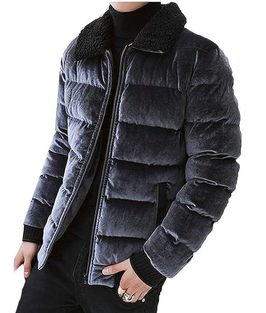 XiaoTianXinMen XTX Mens Casual Lapel Neck Velvet Quilted Padded Zip Jacket Anoraks Parka Coat