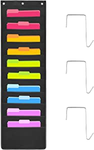 Classroom Organizatioin Over The Door Hanging Wall File Organizer, Oxford Cloth Storage Pocket Chart for Magazines, Pens, File Folders in Office and School with 10 Pockets