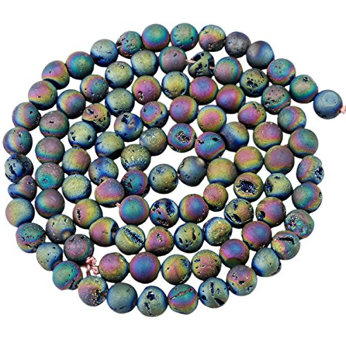- SUNYIK Rainbow Aura Titanium Coated Druzy Geode Loose Bead,for Jewelry Making,Crystal Quartz Agate Stone,8mm 15