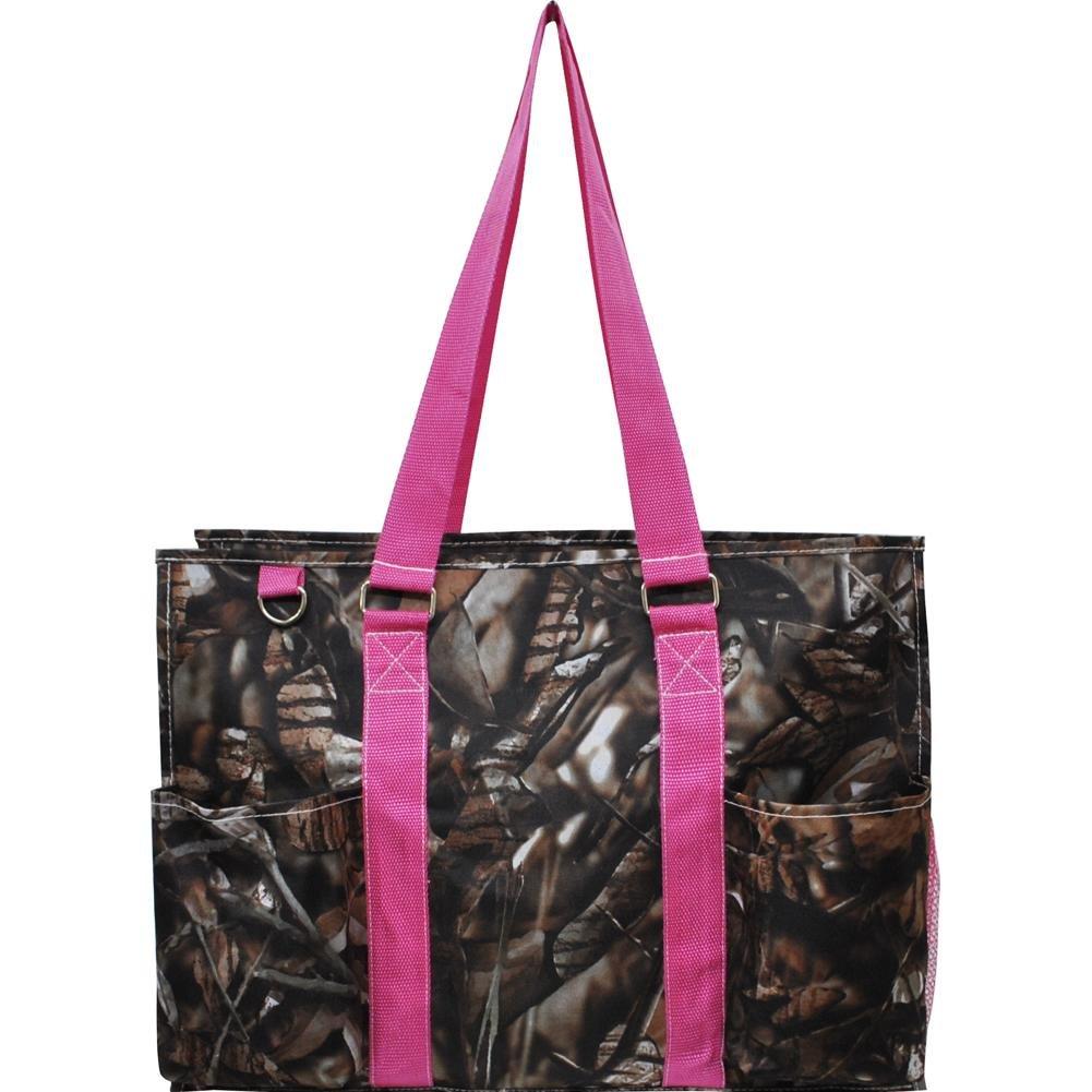 N. Gil All Purpose Organizer 18'' Large Utility Tote Bag 2 (Natural Camo Hot Pink)