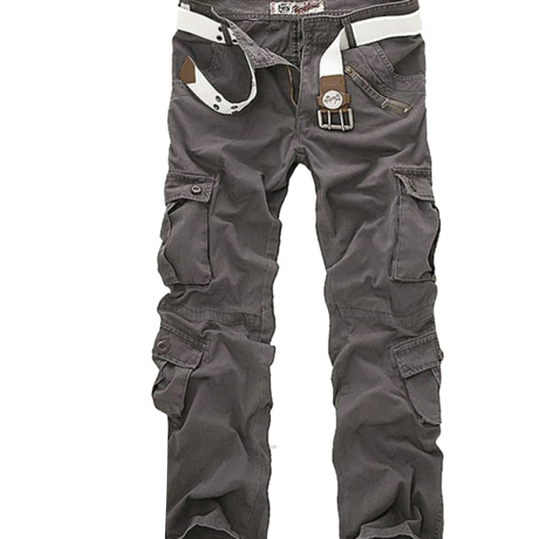BYWX Men Multicolor Plus Size Autumn Relaxed Fit Solid Multi-Pockets Military Wild Cargo Pants