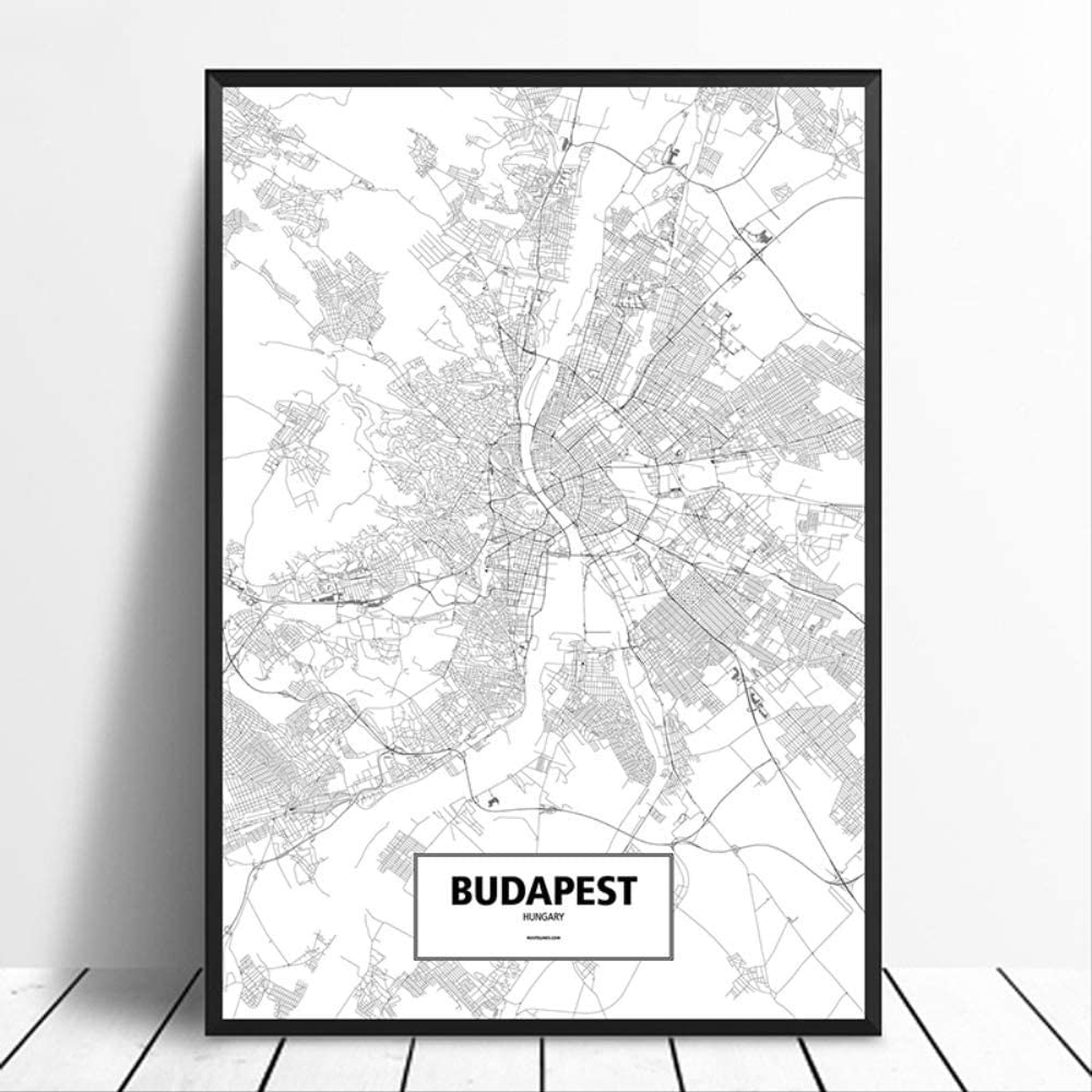 Hungary Black White Custom World City Map Poster Canvas Print Nordic Style Wall Art Home Decor Wall Decor World Map Photos Nautical Decor Canvas Art Wall Decor Budapest