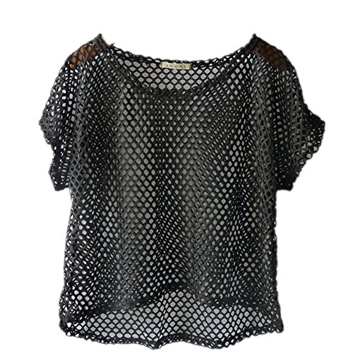 Women's Short Sleeve Mesh Floral Lace Crochet Crop Top (One Size, 02-Black) (Black Mesh Top Sleeve Short)