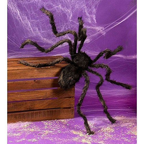 COOL IDEA Black plush spider Halloween party home horror spoof Tricky Funny bar decoration