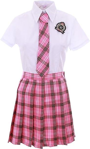 Traje Adolescente Japonesa Coreana Rosa escocés Blanca + ...