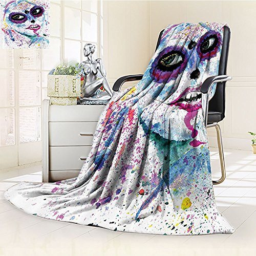 Girly Custom Blanket by Nalohomeqq Grunge Halloween Lady with Sugar Skull Make Up Creepy Dead Face Gothic Woman Artsy Print Accessories Extralong Blue (Do Your Own Halloween Makeup)