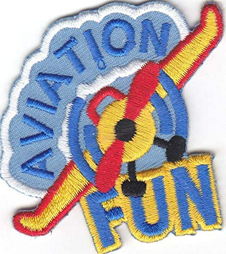 "/""AVIATION FUN/"" IRON ON PATCH Transportation Planes Iron On Applique //Aircraft"