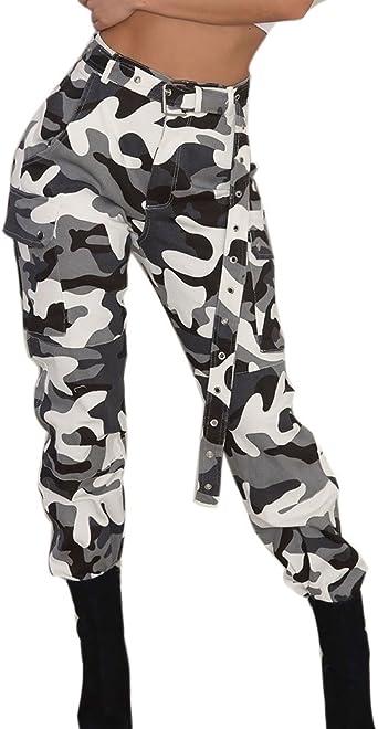 Pantalones Militares Mujer Cintura Alta Pantalon de Camuflaje de Chándal Hip Hop Punk Rock Casuales Tumblr Streetwear Sin cinturón Moda 2019 Yvelands: Amazon.es: Ropa y accesorios