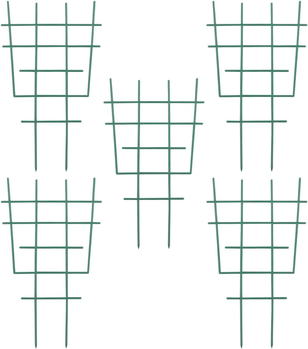DOITOOL 5PCS Plastic Garden Trellis for Climbing Plants,Garden Trellis Plant Support for Climbing Trellis,Flower,Vegetable,Cucumber Trellis (Green,30.5x18.5x0.5cm)