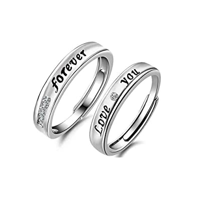 6f4d000d2a ... Highly Polished Finish LOVE YOU FOREVER Engraved Women's Men's  Adjustable Couples Rings Matching for Promise Engagement Wedding Valentines  Day Gift ...