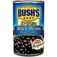 BUSH'S BEST Black Beans, 15 Ounce Can, Frijoles Negros, Canned Black Beans, Plant-based Protein and Fiber, Low Fat, Gluten Free, Canned Beans