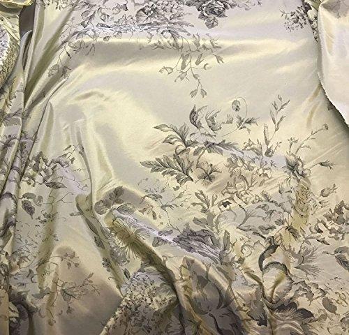 (Taupe Floral - Printed Silk Taffeta Fabric )