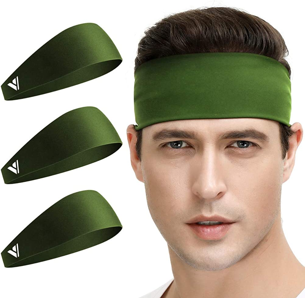 Zollen Mens Headbands 3 Packs Guys Sweatband and Sports Headband for Men for Running Performance Stretch and Moisture Wicking Racquetball Working Out Cross Training