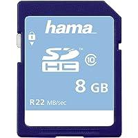 Hama Speicherkarte SDHC 8GB (SD-2.0 Standard, Class 10, High Speed, Datensicherheit dank mechanischem Schreibschutz, Beschriftungsfeld)