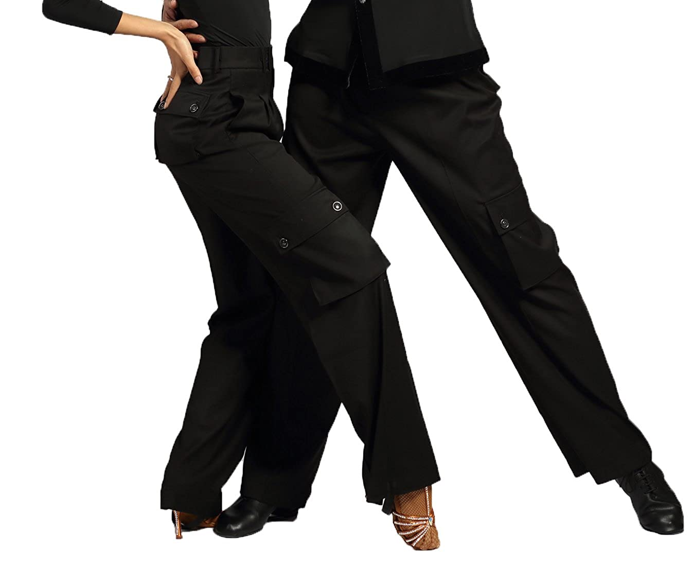 b618f6e2b3e46 G4005 Latin Modern Ballroom Dance Professional Straight Pocket Trousers  Pants for Men and Women