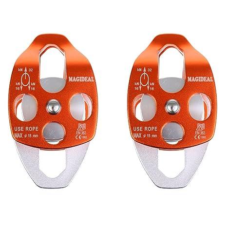 FLAMEER 2x Umlenkrolle//Seilrolle mit 2 Flaschenzug Riemenscheibe Klettern Abseilen Bergsteigen Garten Seilbahn Roller