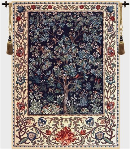 Charlotte Home Furnishings 6842-9451 Tree Of Life, William Morris Tapestry Cushion Wall Hanging - Blue, Green, H 56 x W 42