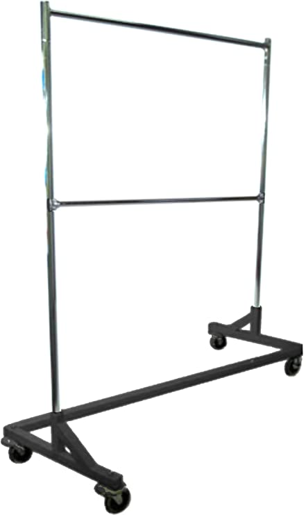 Deluxe Commercial Grade Rolling Z Rack Garment With Nesting Base 400lb Capacity Gloss