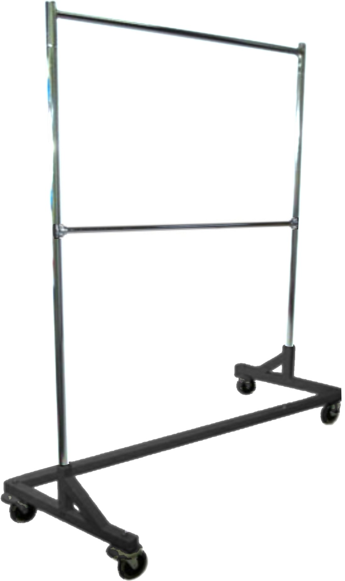 Only Hangers Deluxe Commercial Grade Rolling Z Garment Rack with Nesting Base, 400lb Capacity, Gloss Black GR600-EH 63'' Length with Add-On Extra Double Rail, Adjustable Height Chrome Uprights