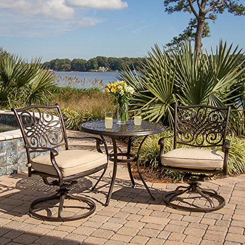 Cheap Hanover TRADITIONS3PCSW Traditions 3-Piece Aluminum Rust-Free Outdoor Patio Bistro Set with 2 Swivel Rocker Chairs, Tan Cushions and Cast-Top Round Table