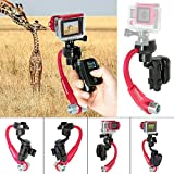 Fantaseal Action Camera 3-Axis Inertia Gyro Stabilizer w/ Remote Control Holder Clip for GoPro Grip Handle GoPro Stabilizer GoPro Gimbal for GoPro Hero 4 / Session / 3+/3-Red