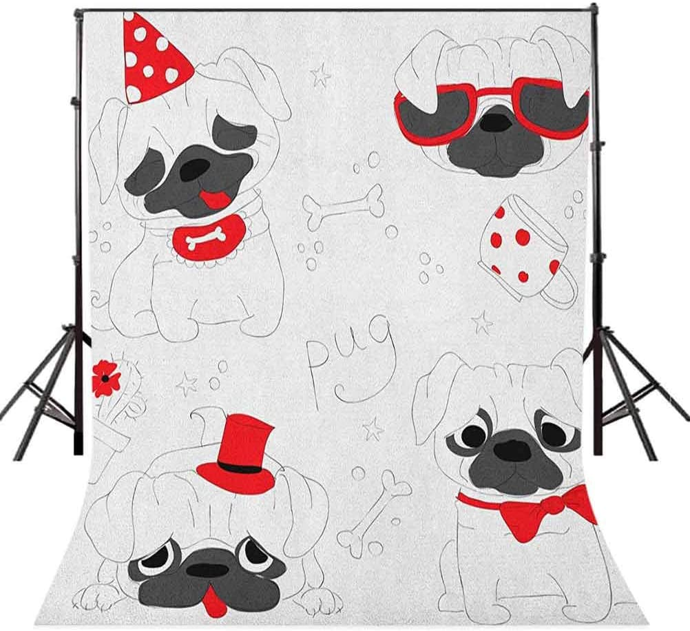 7x10 FT Pug Vinyl Photography Backdrop,Dogs in Various States Sad Happy Cool Excited Dog Bone Dotted Mug Caricature Style Background for Baby Shower Bridal Wedding Studio Photography Pictures