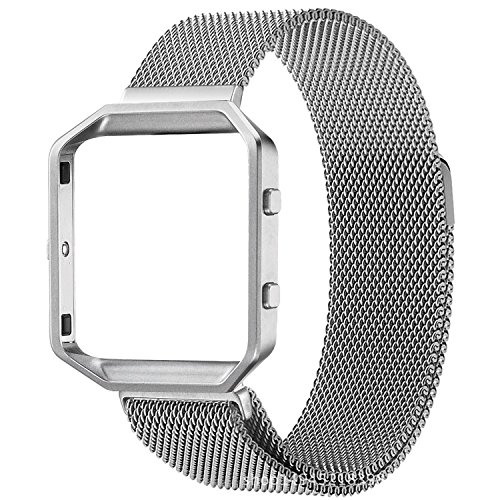 Band For Fitbit Blaze ,Mesh Stainless Steel, Durable Replacement Band For Men And Women White One Size