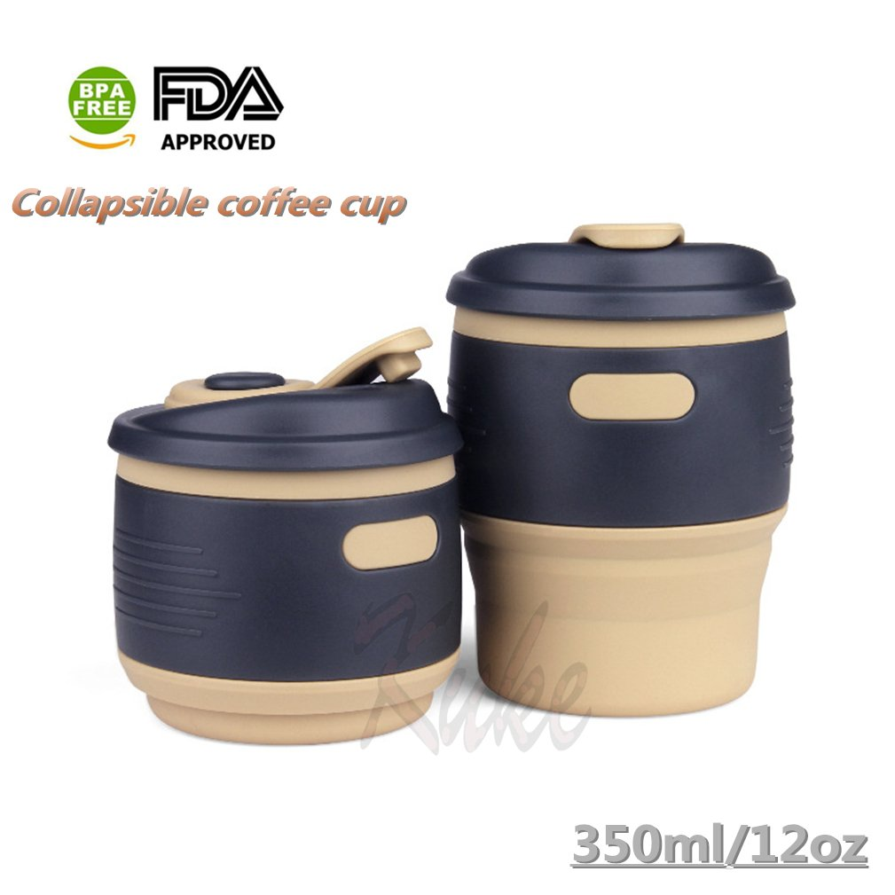 Kuke Collapsible Coffee Cup Silicone 12 oz/350 ml Leak Proof Travel Mug BPA free,Water Bottle for Outdoor Camping Hiking & Office Home Use