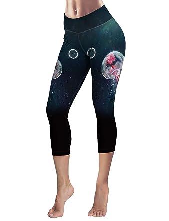 3251e003e225e Capri Tights Running Workout Leggings Cropped Pants Sea Ocean ...