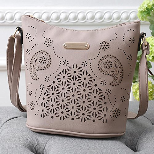 Shoulder Bag Khaki Leather Out Purse Tote Cross Bags Women TUDUZ Hollow Satchel Handbag Messenger Shoulder Bag Body Fashion Casual xqYU6nyO1w