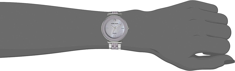 Anne Klein Women's Genuine Diamond Ceramic Bracelet Watch Silver/Lavender