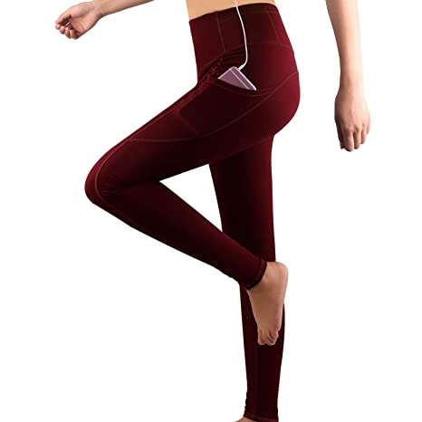 GRAT.UNIC Damen Hohe Taille Sport Leggings,Damen Sport Leggings,Yoga Sporthose mit Seitentaschen, Damen Leggings,Classics Sch
