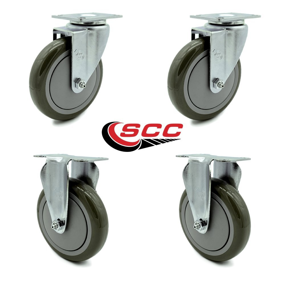 Service Caster SCC-20S514-PPUB-2-R514-2 Cart Casters for Rubbermaid 4400, 4500 Series, Heavy Duty Replacement, 5'' Size (Pack of 4)