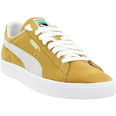 PUMA Women's Suede 90681 Sneakers, Honey Mustard White, 5.5