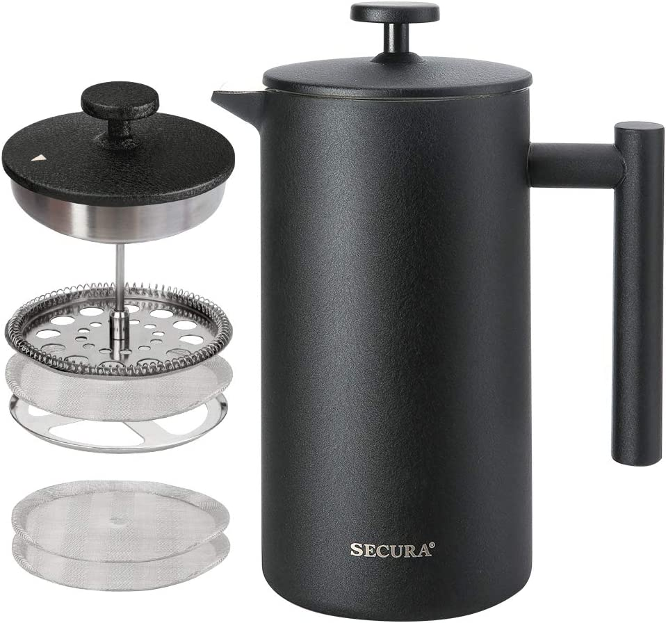 Secura French Press Coffee Maker, 304 Grade Stainless Steel Insulated Coffee Press with 2 Extra Screens, 34oz (1 Litre), Black
