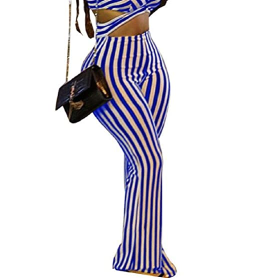 56d1b572955 KLJR Women Bodysuit Fashion Stripe Sexy Wide Leg Club Rompers Jumpsuit Blue  US XS