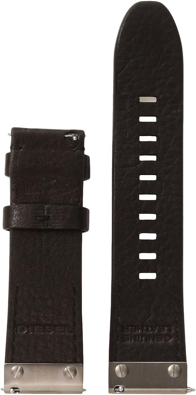 Diesel On Mens Leather and Gunmetal IP 24mm Strap DZT0006, Color: Black, Gunmetal