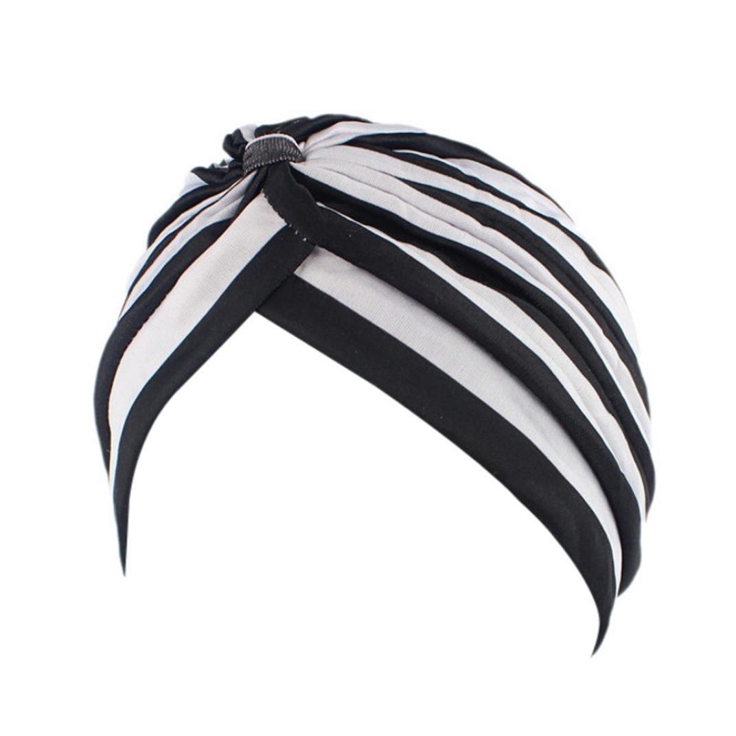 hunpta Mujer cáncer Chemo gorro de punto bufanda turbante Pañuelo para la cabeza Cap, negro