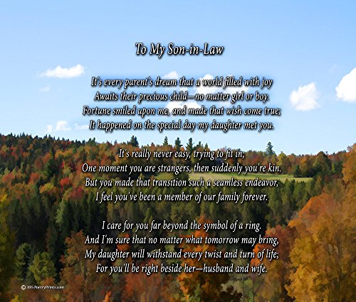 to My Son-in-Law - Poem Print (8x10) - Beautiful Son-in-Law Gift for Any Occasion (unframed) (Christmas Poem For Daughter And Son In Law)