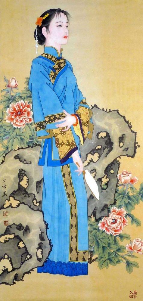 美しいLady – 元中国図アートワーク – Traditional Oriental水彩画 – アジアFineアート B00AOJ9P8U