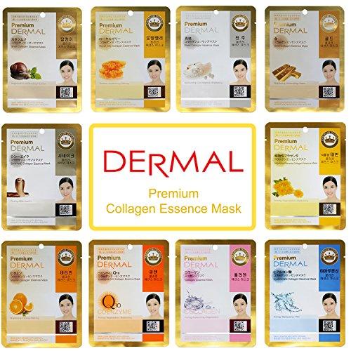 Dermal Korea Premium Collagen Essence Full Face Facial Mask Sheet, 10 Combo Pack