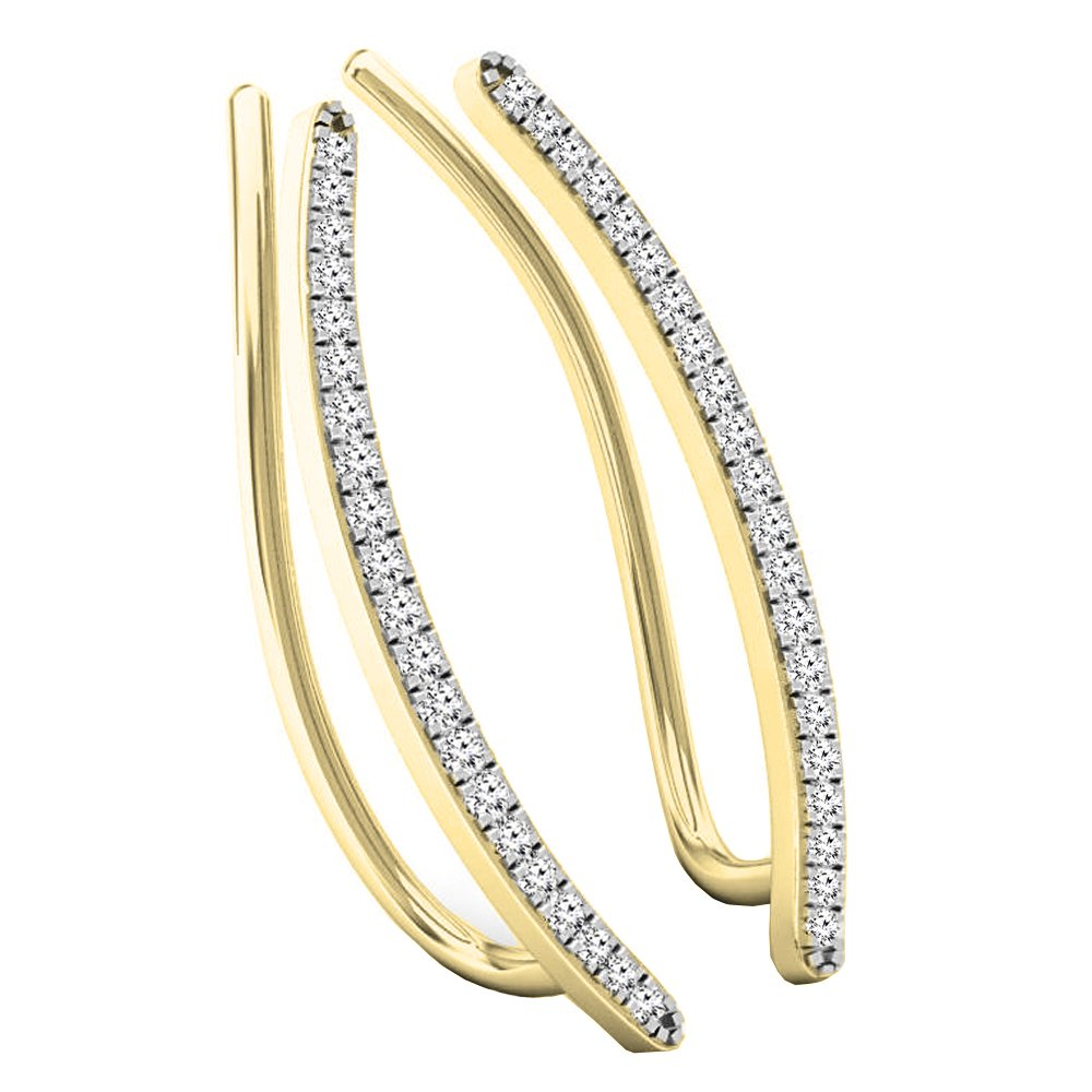 0.16 Carat (ctw) 10K Yellow Gold Round White Diamond Ladies Crawler Climber Earrings