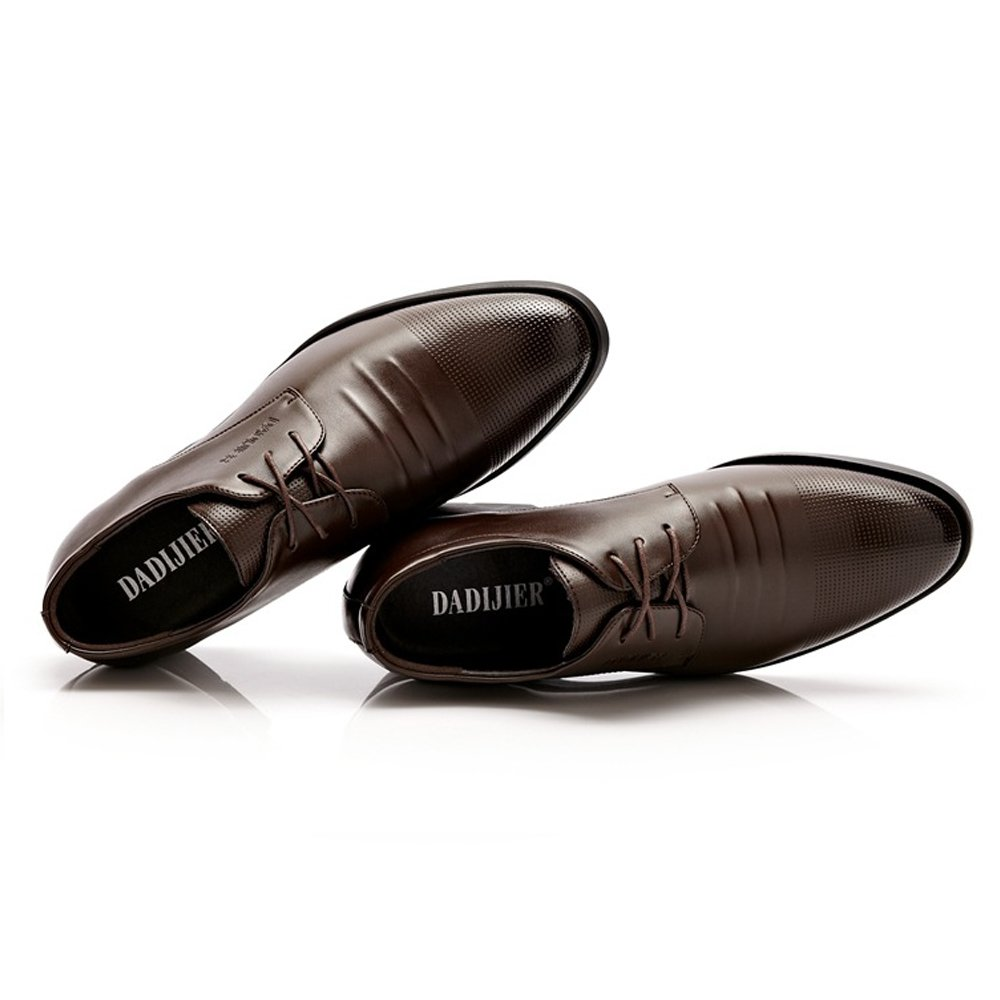 LL Mens Elevator Shoes 6CM Taller Lace up Leather Loafer Removable Height Increasing Insole Driving Shoes