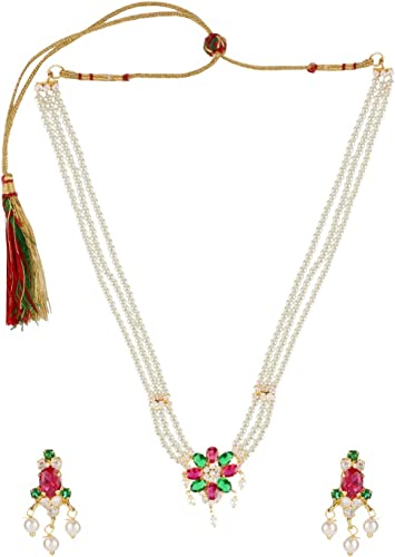 Long Necklace Indian Bollywood Fashion Jewelry Gold Plated Ethnic CZ Bridal Set