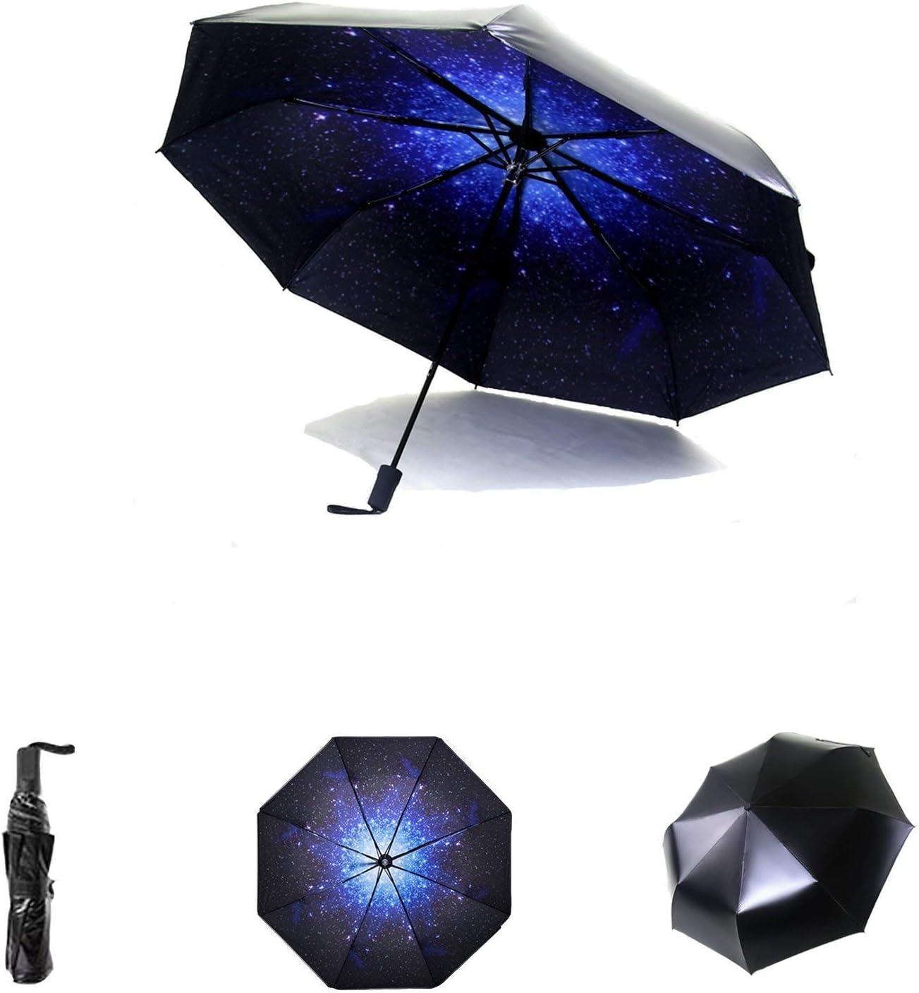 Parasol Paraguas Plegable - Paraguas De Viaje Plegable para Lluvia Sol con SPF 50+ Protección UV A Prueba De Viento - De Plegable Y Compacto con Teflón 210T para Viajes Al Aire