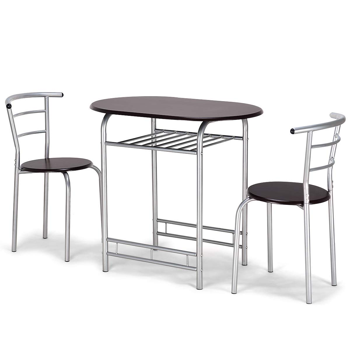 Giantex 3 PCS Bistro Dining Set Table and 2 Chairs Kitchen Furniture Pub Home Restaurant Table Chair Sets (Coffee)